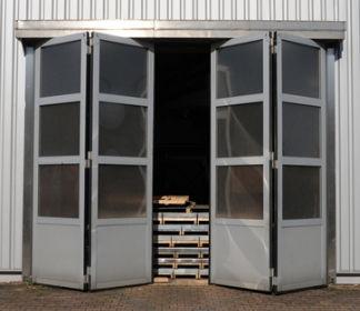 puerta plegable de aluminio industrial para interior itw torsysteme
