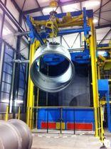 Granalladora de transportador aéreo / para metal