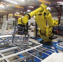 Célula robotizada de instalación / de manipulación / para cristales
