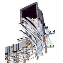 Transportador de aire / con cadena / para botellas de PET/HDPE vacías / horizontal
