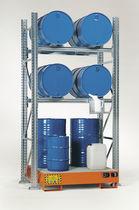 Sistema de estanterías depósito de almacenamiento / para carga mediana / de bidón con contenedor de retención / ajustable