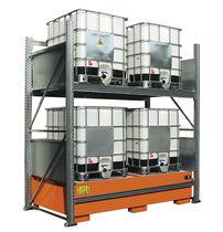 Sistema de estanterías depósito de almacenamiento / de bidón con contenedor de retención / ajustable