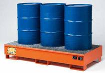 Cubeta de retención multiusos / 3 bidones / de acero al carbono / rígida