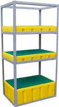 Sistema de estanterías con paleta / para carga ligera / para bidones con contenedor de retención / galvanizado