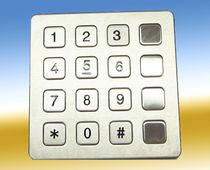 Teclado numérico 16 teclas / empotrable / de acero inoxidable / de elastómero