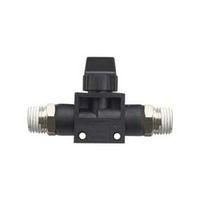 Racor de rosca / recto / neumático / con válvula de cierre integrada