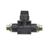 Racor push-in / recto / neumático / con válvula de cierre integrada