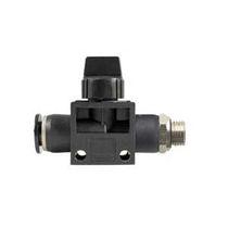 Racor bloqueable por presión / recto / neumático / con válvula de cierre integrada