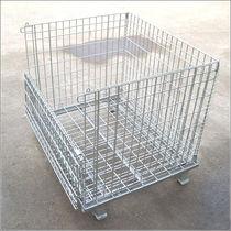 Caja-palé de acero / enrejada / para almacenamiento / plegable