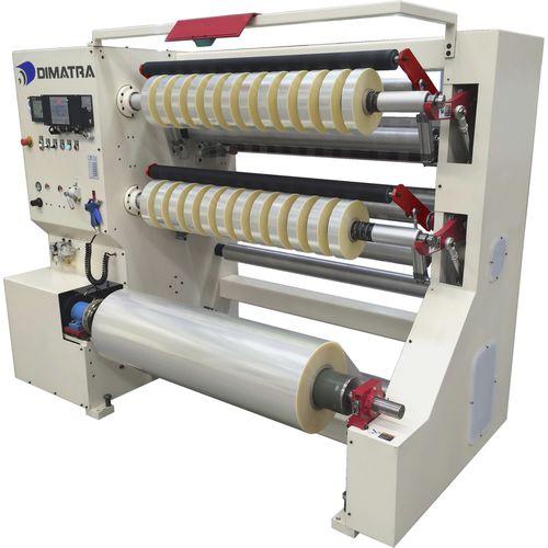 cortadora rebobinadora de dos barriletes / para films de plástico