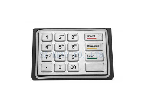 teclado empotrable / de tecla mecánica / 16 teclas / aluminio