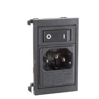 conector de alimentación eléctrica / rectangular / unipolar / con interruptor