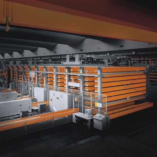 almacén automático vertical / para barras / con transelevadores / con puente grúa de corredera