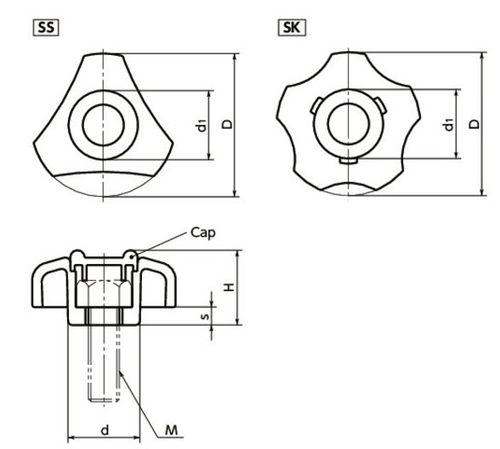 Rosca de extensión-retracción / de triángulo / tipo estrella / de plástico SS, SK series NBK
