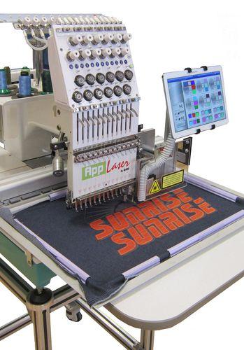 máquina bordadora de monocabezal / con dispositivo de corte por láser