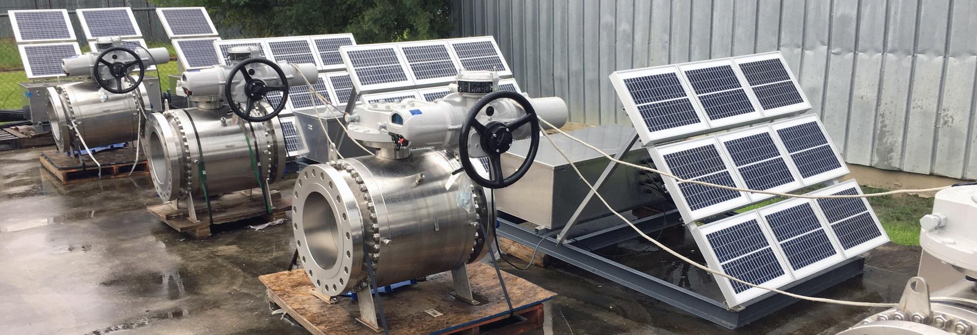 Actuadores eléctricos de Rotork usados en la solución solar de la tubería del campo petrolífero de la pizarra de los E.E.U.U.