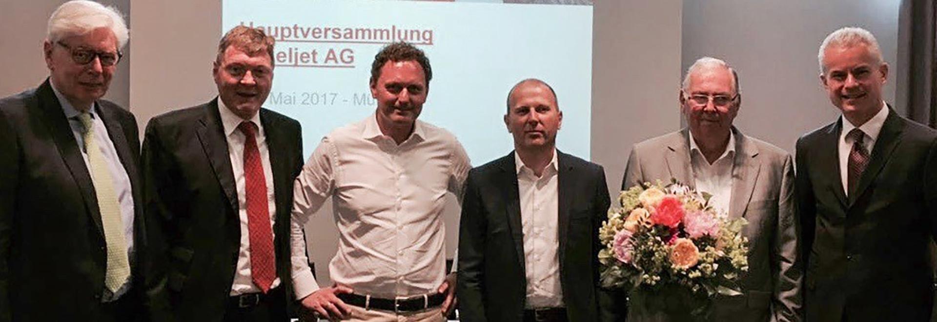 FLTR. El Dr. Stefan Söhn (presidente) de Debuty, Peter Nietzer (presidente), Rudolf Franz (COO/CFO), el Dr. Ingo Ederer (CEO), profesor el Dr. el Dr. Joachim Heinzl, und Eberhard Weiblen