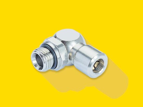 La conexión roscada del ángulo que gira sobre un eje del BasicLine ofrece un anillo o incluido y se hace de latón niquelado