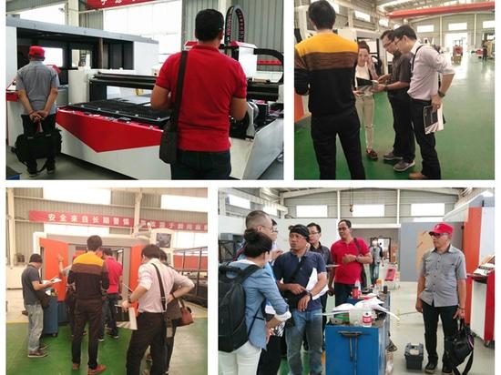 Los clientes de Indonesia visitó nuestra fábrica para ver la hoja de metal y tubo de la máquina de corte láser