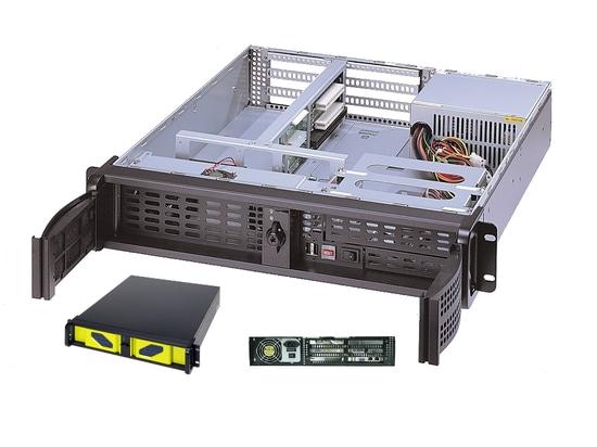 """Chasis montado en rack de AICSYS Inc. 2U para el SBC con (1) 5,25"""" y (2) 3,5"""" bahías de impulsión, ranura de 4 PCI. La placa madre de SHB de PICMG 1,0 o 1,3 apoya la fuente de alimentación del tama..."""