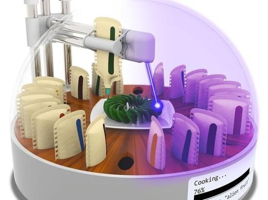 comida de la impresión 3D: el laboratorio crea a la impresora de la comida 3D que cocina sus impresiones con un laser
