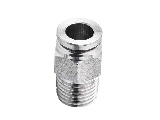 6 mm x BSPT 1/8 macho recto, acero inoxidable Empuje para conectar el accesorio