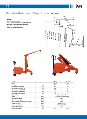 i-Lift Counterbalanced hydraulic workshop foldable crane LHJ
