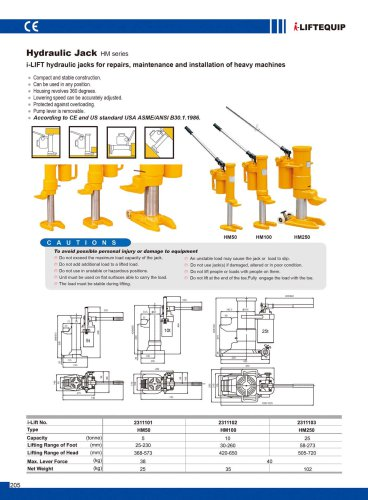 i-Lift/Hu-Lift Hydraulic Jacks HM