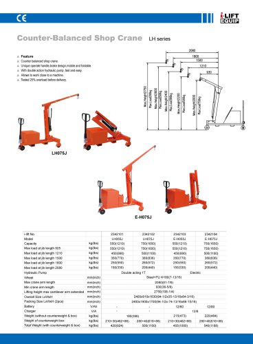 MATERIAL HANDLING EQUIPMENT/I-LIFT/COUNTER-BALANCED SHOP CRANELH SERIES