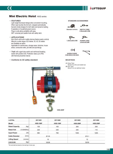 MATERIAL HANDLING EQUIPMENT/I-LIFT/MINI ELECTRIC HOIST/HXS SERIES