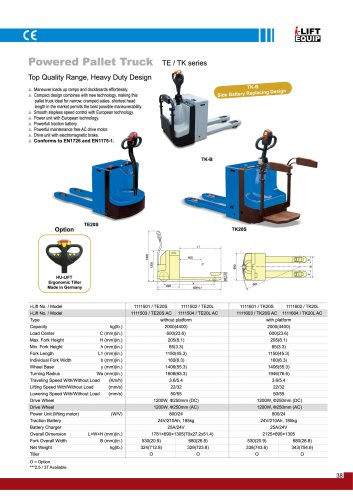 Powered Pallet Truck TE/TK series