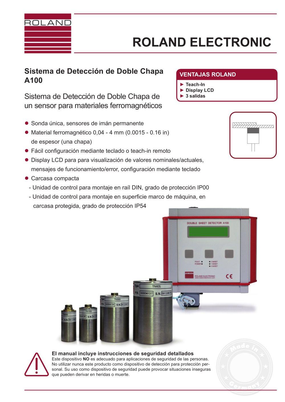 Sistema de Detección de Doble Chapa A100 - ROLAND ELECTRONIC ...