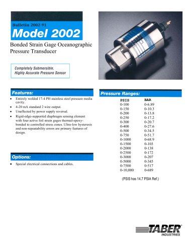 Ocean Submersible/Oceanographic Pressure Transducers Model 2002