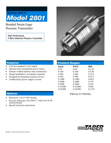 Taber Ground Support Transducers Model 2801