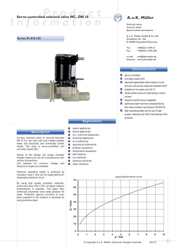 01.010.125 Servo-controlled solenoid valve NC, DN 10