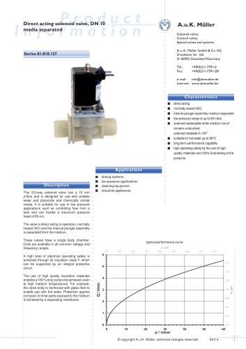 01.010.127 Direct acting solenoid valve, DN 10 media separated