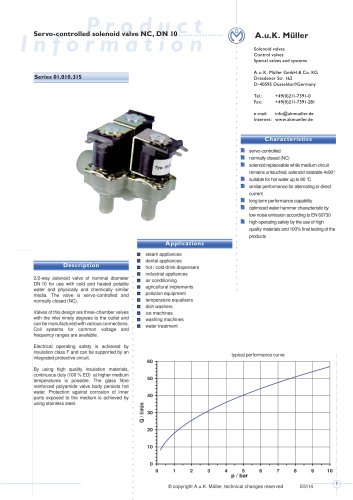 01.010.315 Servo-controlled solenoid valve NC, DN 10