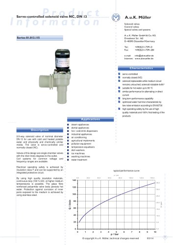01.013.115 Servo-controlled Solenoid Valve NC, DN 13