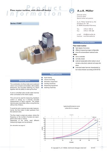 17.007.- Flow meter turbine, with shut-off device