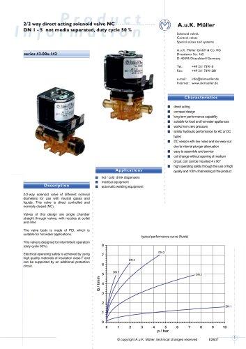 2/2 way direct acting solenoid valve NC