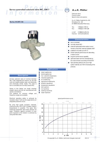 44.007.126 Servo-controlled solenoid valve NC, DN 7