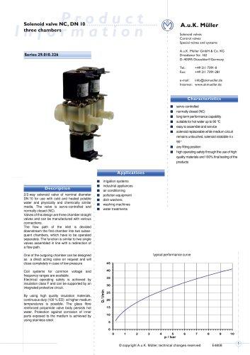 Solenoid valve NC, DN 10 three chambers