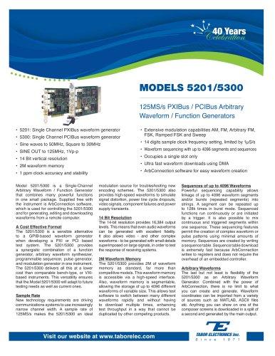 Model 5201/5300  125MS/s PXIBus/PCIBus Arbitrary Waveform Generator