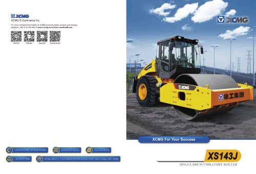 XCMG 14ton Single Drum Vibratory Roller XS143J Construction