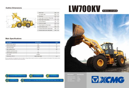 XCMG 7Ton Wheel Loader LW700KV