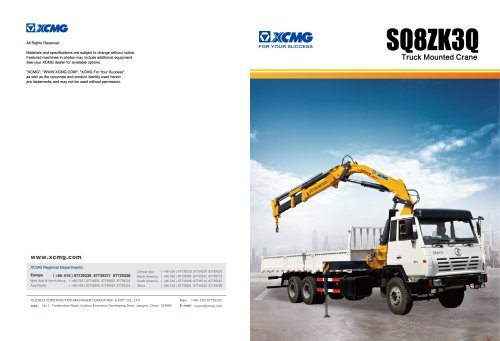 XCMG  truck-mounted crane SQ8ZK3Q construction