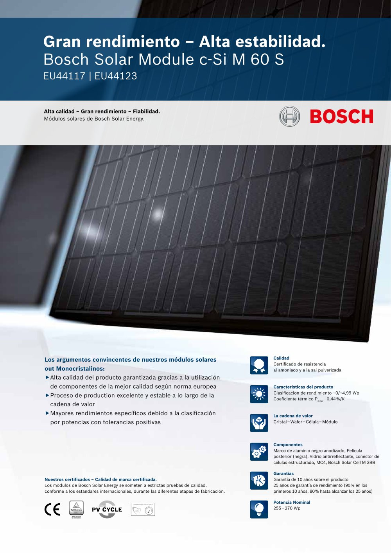 Bosch Solar Module c-Si M 60 S EU44117 I EU44123 (255 - 270 Wp ...