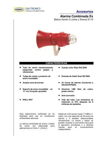 Alarma Combinada Ex- Baliza Xenón 5 Julios y Sirena S110