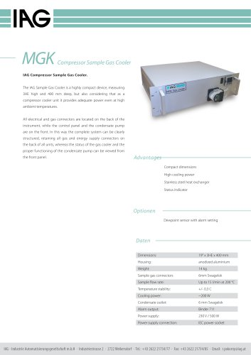 MGK-Compressor Sample Gas Cooler