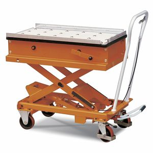 mesa elevadora de tijera / con pedal / móvil / con plataforma giratoria